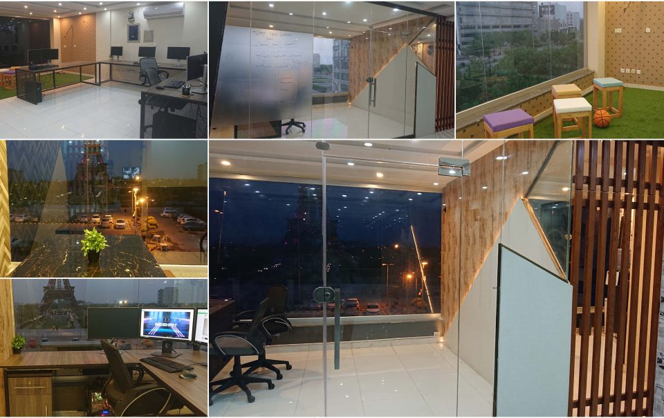 Collage of Moshpit studios office Interior Lahore